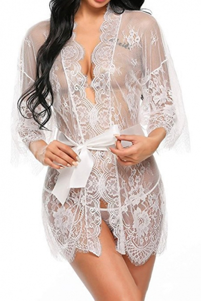 Womens Sexy Lace Trimmed Bow-Tied Waist Transparent Mesh Mini Sleepwear Dress