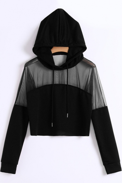 Womens Sexy Sheer Mesh Panel Long Sleeve Cropped Hoodie