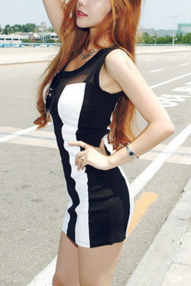 Womens Summer Sexy Sheer Mesh Panel Scoop Neck Sleeveless Black and White Mini Bodycon Tank Dress