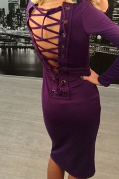 Womens Trendy Simple Plain Scoop Neck Long Sleeve Hollow Lace-Up Back Midi Bodycon Pencil Dress