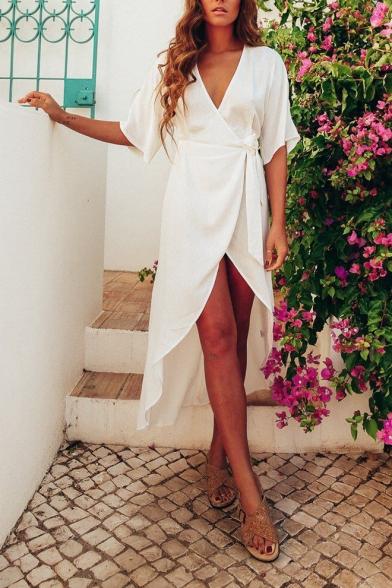 Womens Trendy Simple Plain V-Neck Tied Waist Maxi Wrap Dress