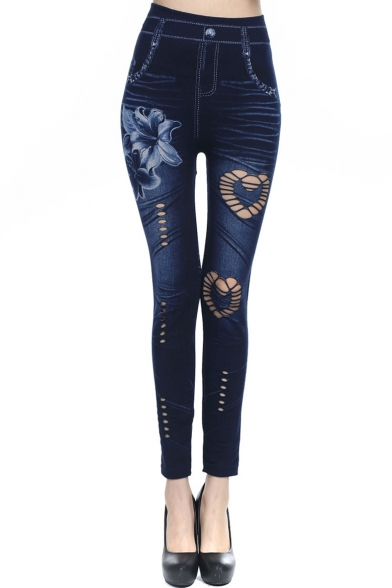 Womens Trendy Skinny Fitted Floral Print Hollow Out Fake Denim Leggings Pants
