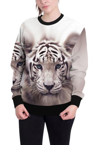 3D Cool Tiger Pattern Basic Crewneck Long Sleeve Casual Loose Sweatshirt