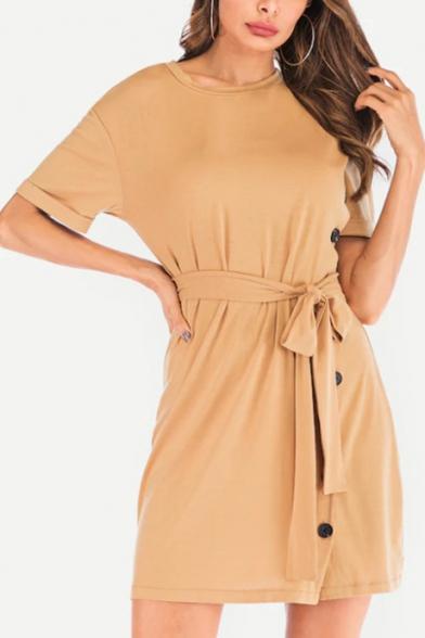 Basic Round Neck Short Sleeve Plain Button Down Side Tied Waist Khaki Mini Sheath Dress