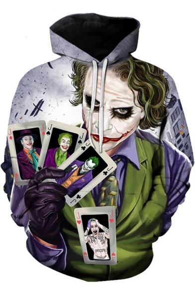 Cool Clown Jack Poker Card Printed Long Sleeve Casual Sport Hoodie