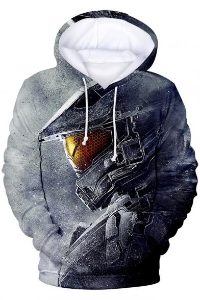 Cool Game Figure 3D Printed Long Sleeve Casual Loose Grey Pullover Hoodie