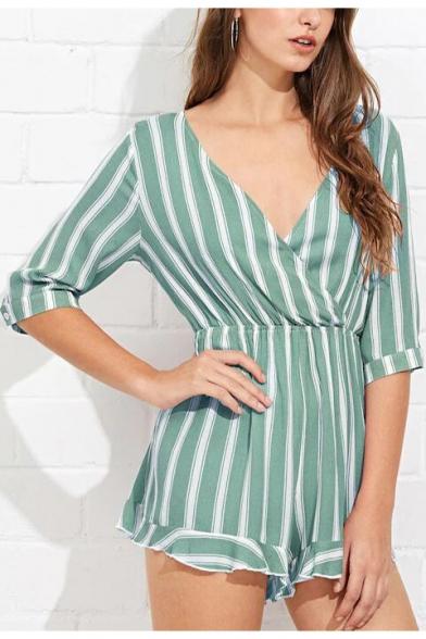 Fancy Summer Womens Striped Print Plunge V Neck Half Sleeve Casual Romper