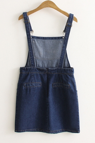 Girls Cute Cartoon Cat Embroidery Blue Denim Pinafore Mini Dress