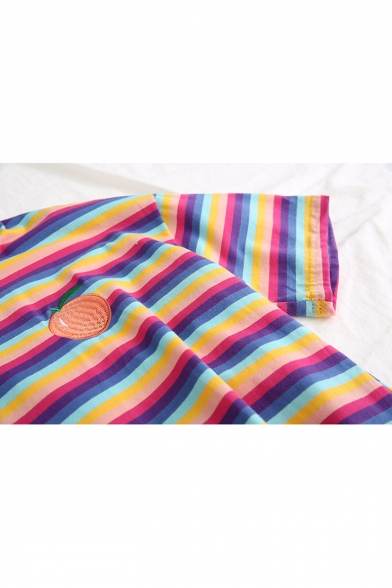 Girls Sweet Embroidery Striped Print Short Sleeve Crop Polo Shirt