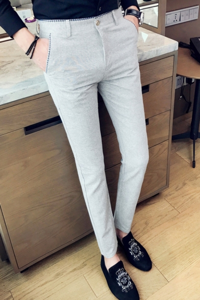 Guys Fashion Simple Plain Slim Fit Tailored Suit Pants Dress Pants