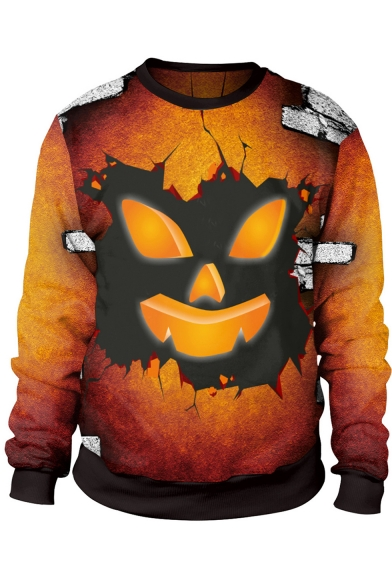 Hot Trendy Halloween Cartoon Pumpkin Head Print Long Sleeve Yellow Sweatshirt