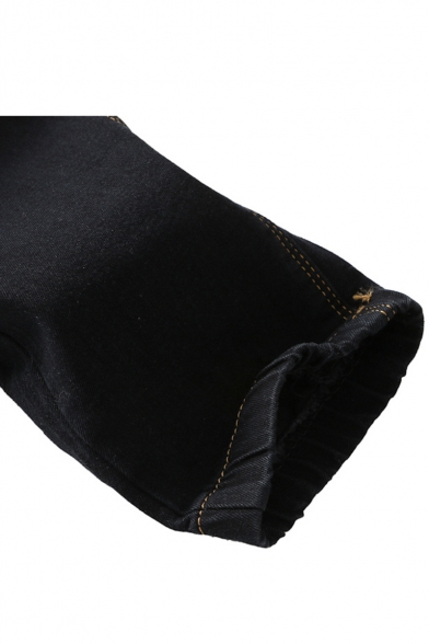 Men's Cool Fashion Pleated Knee Patched Zipper Embellished Drawstring Waist Black Casual Jeans