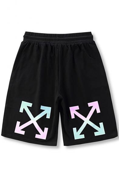 Men's Fashion Reflective Tape Patched Drawstring Waist Black Cotton Casual Sweat Shorts