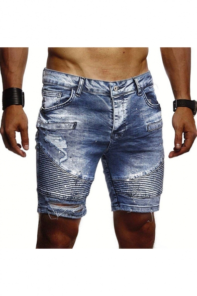 Men's Fashion Vintage Washed Pleated Ripped Detail Denim Shorts