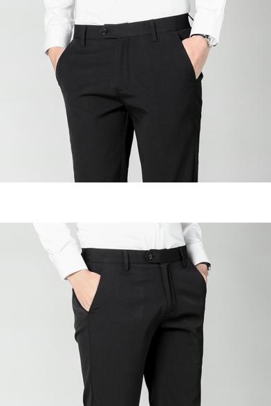 Men's New Fashion Simple Plain Slim Fit Casual Straight Dress Pants
