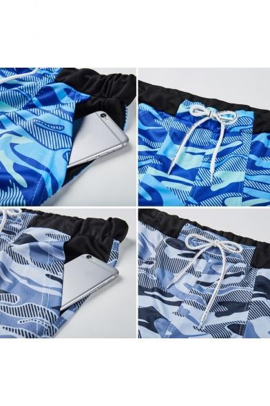 Men's New Stylish Camouflage Pattern Drawstring Beach Shorts Swim Trunks with Pocket