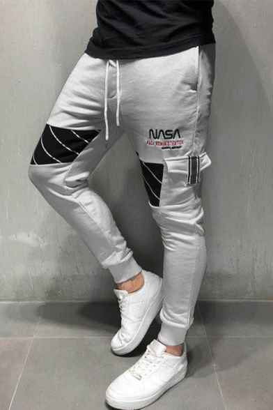 Men's Popular Fashion Letter NASA Diagonal Stripes Printed Drawstring Waist Slim Fit Sports Sweatpants