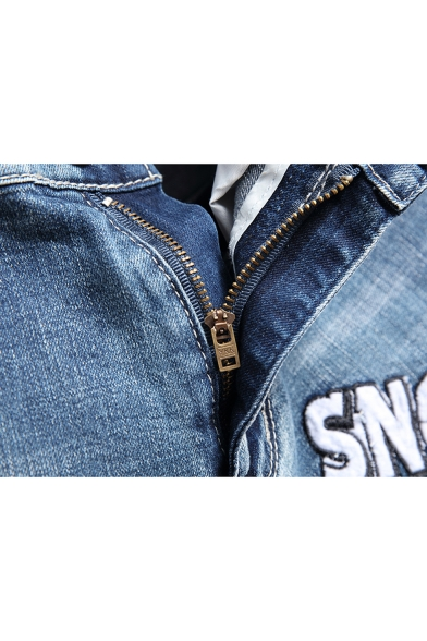 Men's Stylish Letter SNOOPY Spider Printed Zip-fly Blue Ripped Denim Shorts
