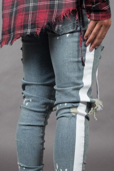 Men's Stylish Spray Painted Letter Pattern Knee Cut Light Blue Skinny Ripped Jeans
