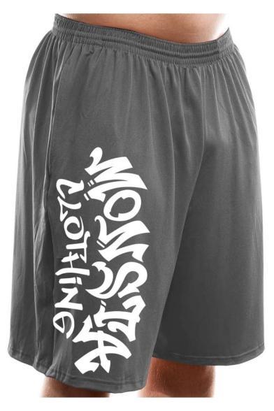 Men's Summer Fashion Letter MONSTA Printed Elastic Waist Casual Loose Sports Sweat Shorts