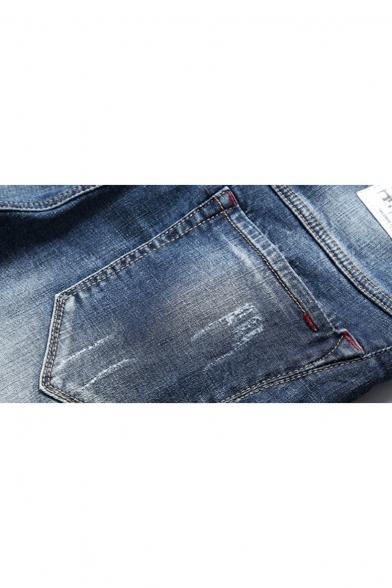 Men's Summer Trendy Basic Washed Stripe Patched Zip-fly Blue Denim Shorts