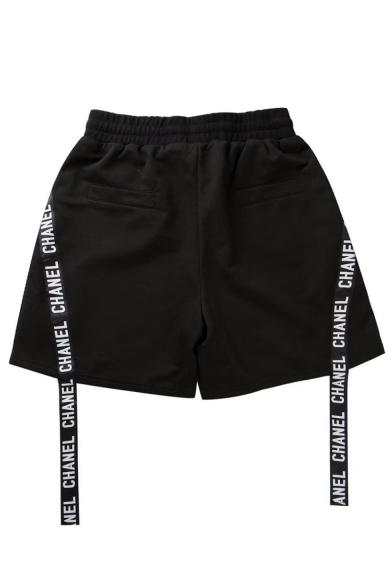 Men's Summer Trendy Letter Ribbon Zipper Metal Ring Embellished Drawstring Waist Black Cotton Sweat Shorts