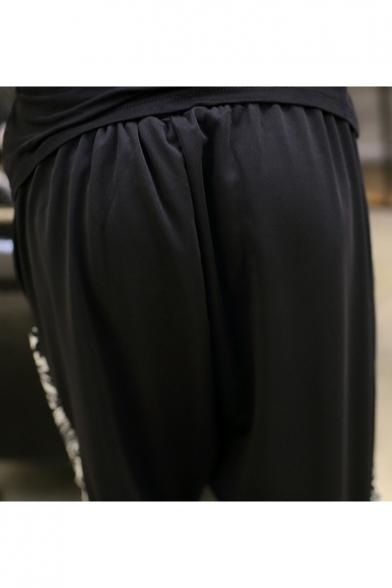 Men's Unique Printed Drop-Crotch Drawstring Waist Black Cropped Joggers Harem Pants