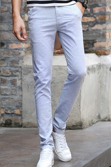 Mens Thin Cotton Simple Plain Casual Slim Dress Pants