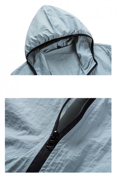 Mens Trendy Simple Plain Flap Pocket Front Zip Up Hooded Skin Jacket