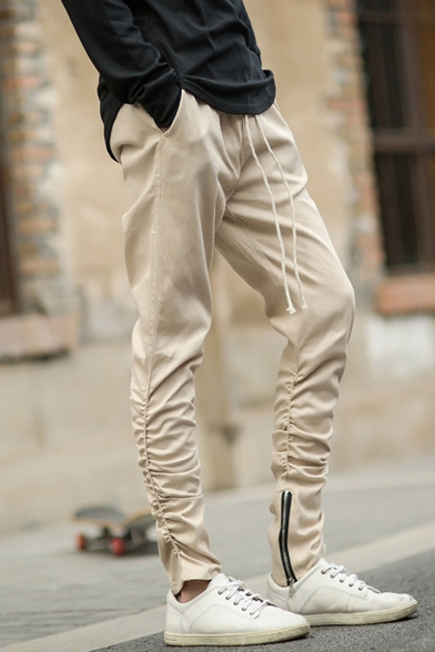 Mens Trendy Simple Plain Pleated Design Zippered Vent Drawstring Waist Casual Pencil Pants