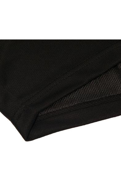 Popular Fashion Logo Printed Elastic Waist Loose Fit Black Running Sport Shorts