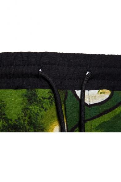 Popular Fashion Printed Drawstring Waist Loose Fit Green Casual Beach Shorts
