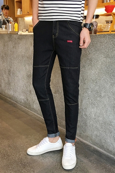 Simple Solid Color Stretch Slim Fit Rolled Cuffs Men's Fashion Casual Jeans