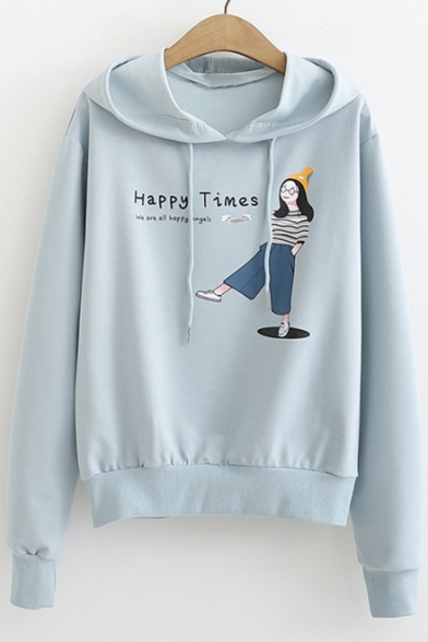 Students Cartoon Girl Letter HAPPY TIMES Print Long Sleeve Pullover Hoodie