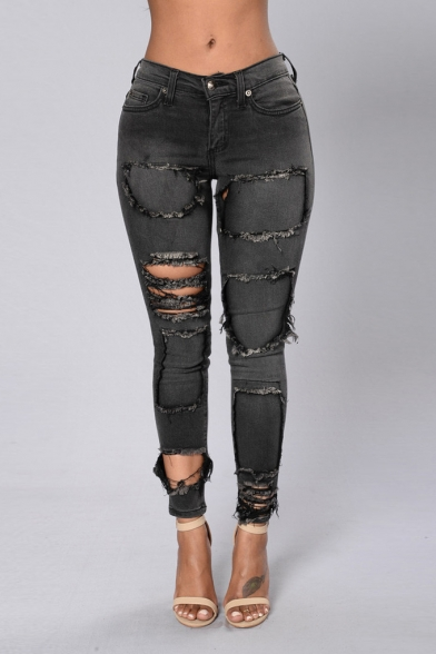 Stylish Unique Destroyed Ripped Hole Patchwork Women's Grey Skinny Fit Jeans