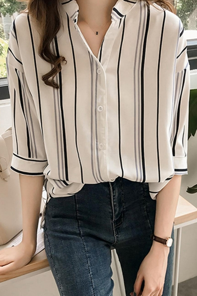 Summer Chic Vertical Striped Printed Three Quarter Sleeve Loose Casual Shirt For Women Beautifulhalo Com