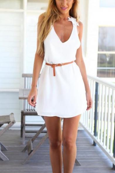 Summer Fancy White Crochet Open Back V-Neck Sleeveless Mini A-Line Chiffon Tank Dress