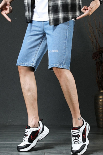 Summer Fashion Letter EVERYONE IS SPECIAL Embroidered Pattern Men's Casual Denim Shorts