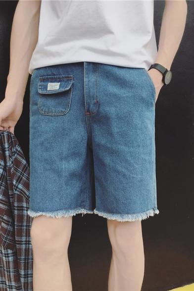 Summer Fashion Simple Plain Mini Pocket Embellishment Frayed Hem Straight Fit Denim Shorts for Men