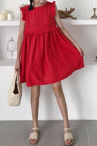 Summer Girls Stylish Solid Color V-Neck Ruffled Hem Mini Smock Dress