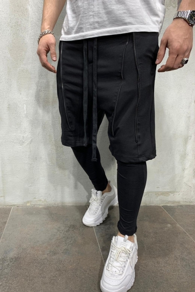 Summer New Trendy Zipper Embellishment Drawstring Waist Men's Simple Plain Casual Sports Shorts