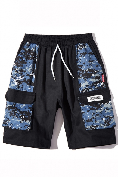 Summer Trendy Camouflage Printed Flap Pocket Side Drawstring Waist Casual Cargo Shorts