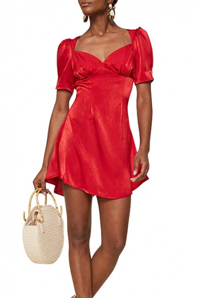 Summer Trendy Stylish Plain Red V-Neck Puff Short Sleeve Mini A-Line Dress