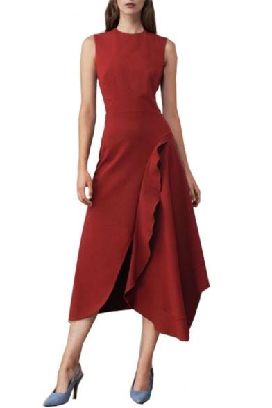 Summer Womens Boutique Fashion Round Neck Sleeveless Maxi Plain A-Line Asymmetrical Dress