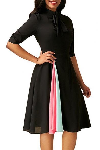 Summer Womens Trendy Elegant Bow-Tied Collar Half Sleeve Unique Patchwork Midi A-Line Dress