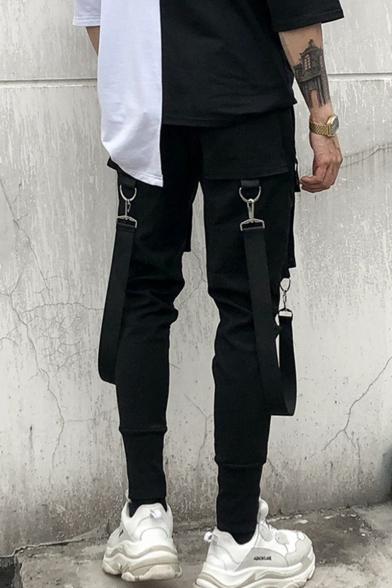 Trendy Personalized Double Flap Pocket Buckle Strap Ribbon Embellishment Letter Printed Drawstring Waist Men's Black Cotton Cargo Pants