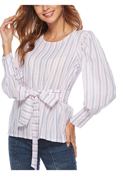 Trendy Vertical Striped Print Round Neck Puff Long Sleeve Bow-Tied Front Blouse for Women