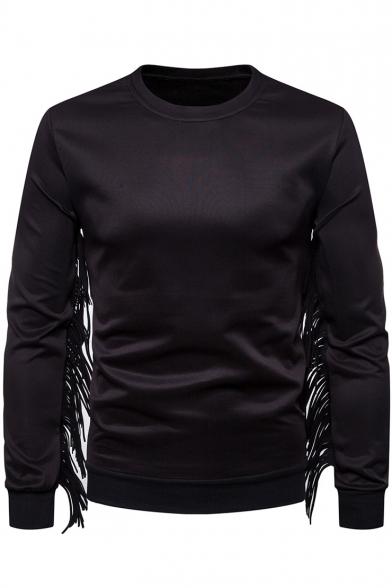 Unique Cool Tassel Hem Embellished Round Neck Long Sleeve Plain Pullover Sweatshirt