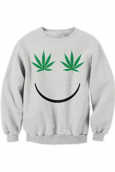 Unique Funny Weed Smile Face Pattern Grey Long Sleeve Pullover Sweatshirt