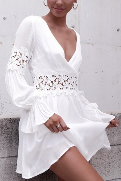 Womens Chic Plain Lace Crochet Hollow Out Plunging V-Neck Long Sleeve White Mini A-Line Dress